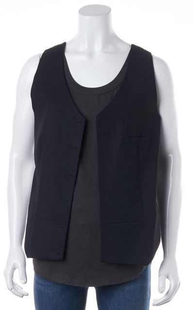 GOLDEN GOOSE Gray Navy Blue Colorblock Wool Sleeveless Knit Vest Top