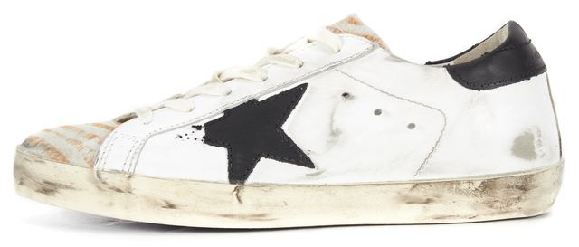 GOLDEN GOOSE White Super Star Distressed Leather Calf Hair Trim Sneakers