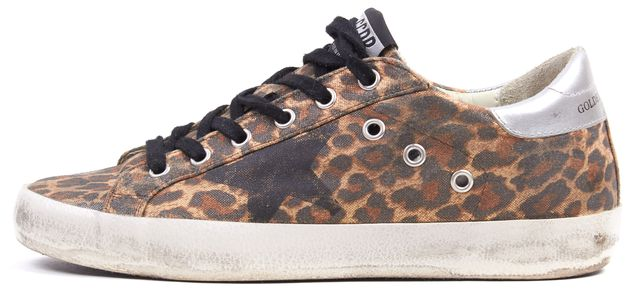 GOLDEN GOOSE Brown Leopard Print Leather Distressed Superstar Sneakers