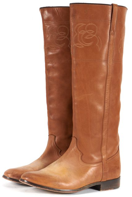 GOLDEN GOOSE Brown Distressed Embroidered Leather Knee-High Tall Boots