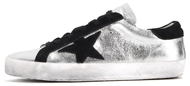 GOLDEN GOOSE Silver White Metallic Superstar Leather Sneakers