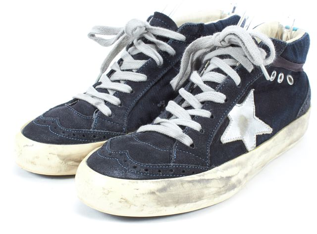 GOLDEN GOOSE Navy Blue Canvas Suede Trim Mid Star Sneakers