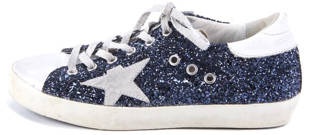 GOLDEN GOOSE Blue Glitter SuperstarLace Ups Sneakers