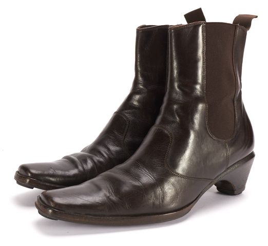 GIORGIO ARMANI Brown Leather Low Heel Slide On Chelsea Ankle Boots