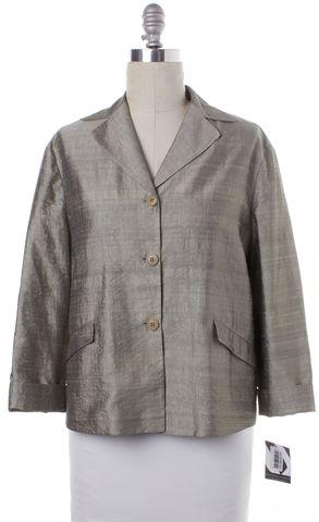 GIORGIO ARMANI Silver Gray Relaxed Fit Topper Blazer Jacket