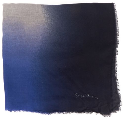 GIORGIO ARMANI Navy Blue Gray Ombre Fringe Scarf