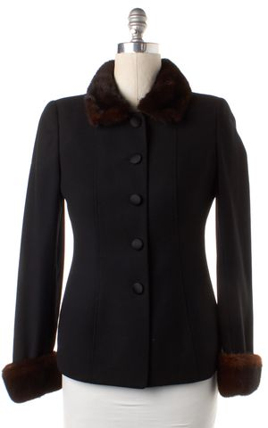 GIORGIO ARMANI Black Brown Faux Fur Lined Wool Basic Jacket