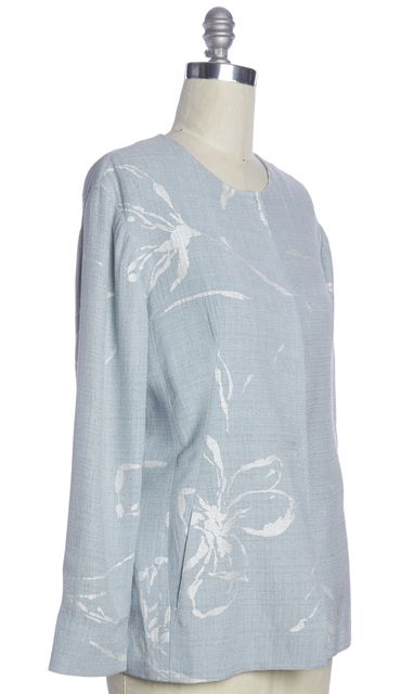 GIORGIO ARMANI Light Blue White Floral Hidden Snap Buttons Jacket