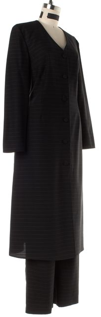 GIORGIO ARMANI Black Gray Striped Wool Pant Suit