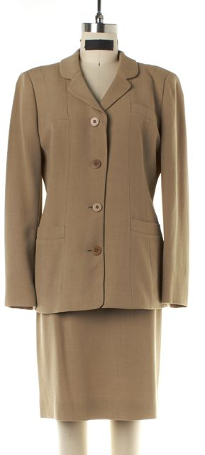 GIORGIO ARMANI Beige Wool Blazer & Skirt Suit Set