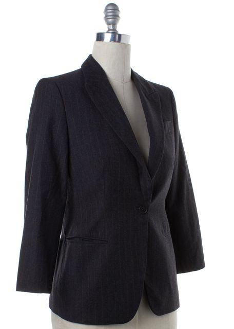 GIORGIO ARMANI Gray Pink Pinstriped Wool Blazer Jacket