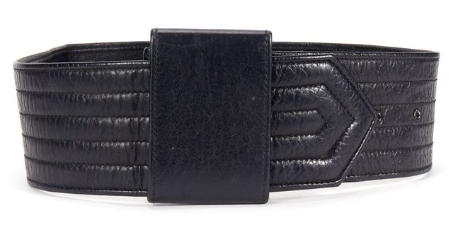 GIORGIO ARMANI Black Leather Wide Belt One Size