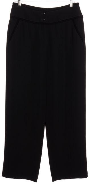GIORGIO ARMANI Black Velvet Trim Wide Leg Trousers Pants
