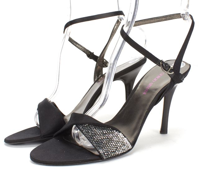 GIORGIO ARMANI Black Satin Crystal Embellished Open Toe Heels