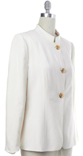 GIORGIO ARMANI White Silk Blazer Fits Like a 8