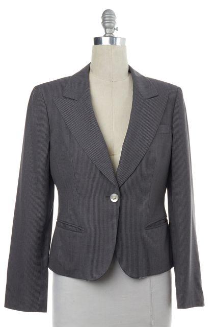 GIORGIO ARMANI Gray Pinstriped Wool Blazer Jacket
