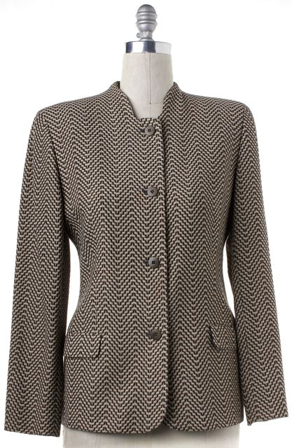 GIORGIO ARMANI Gray Beige Geometric Wool Knit Button Down Jacket
