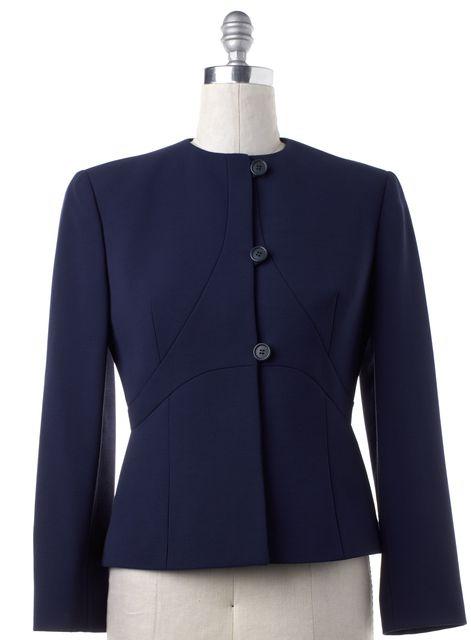 GIORGIO ARMANI Navy Blue Wool Button Jacket