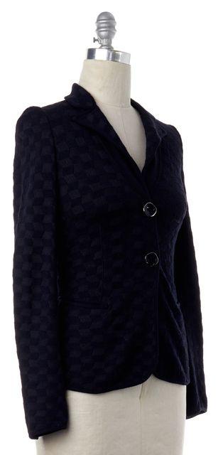 GIORGIO ARMANI Black Plaid Knit Blazer