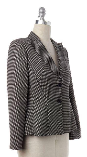 GIORGIO ARMANI Casual Black Beige Plaid Wool Knit Blazer