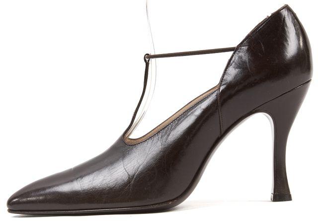 GIORGIO ARMANI Brown Leather Cutout Pumps Heels