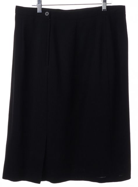 GIORGIO ARMANI Black Wool Classic Casual Asymmetrical Skirt