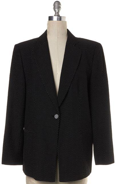 GIORGIO ARMANI Black Polka Dot Silk Basic Casual Relaxed Blazer Jacket