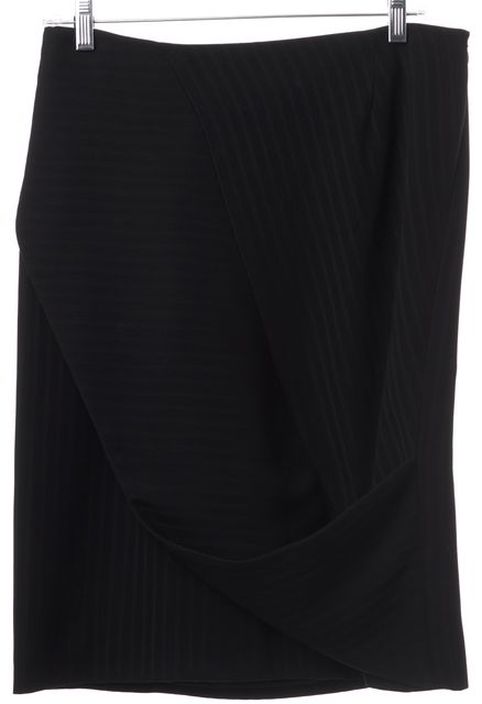 GIORGIO ARMANI Black Draped Striped Stretch Knit Skirt