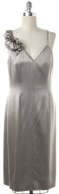 GIORGIO ARMANI Silver Silk Criss Cross Back V-Neck Sheath Dress