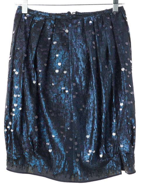 GIORGIO ARMANI Blue Sequin Pleated Above Knee Skirt