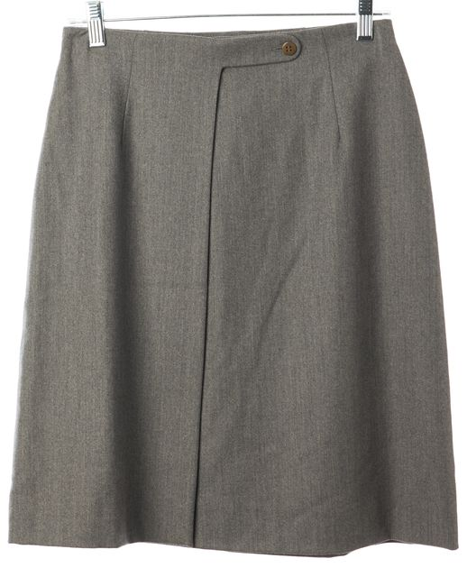 GIORGIO ARMANI Gray Wool Above Knee Wrap Skirt
