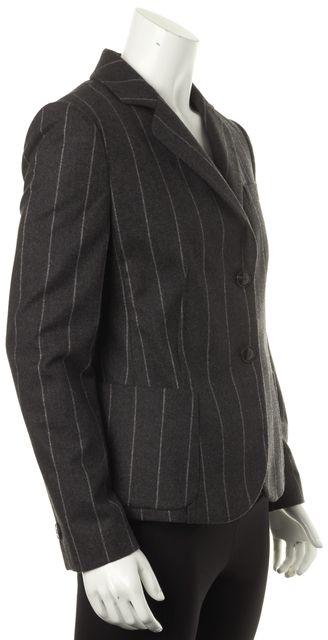 GIORGIO ARMANI Gray Striped Two Button Blazer
