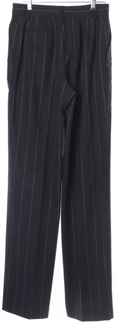 GIORGIO ARMANI Gray Striped Wool Pleated Trouser Dress Pants