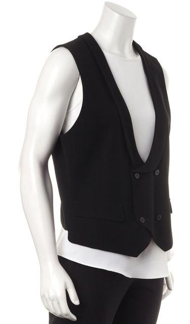 GIORGIO ARMANI Black Wool Casual Double Breasted Dress Vest Top