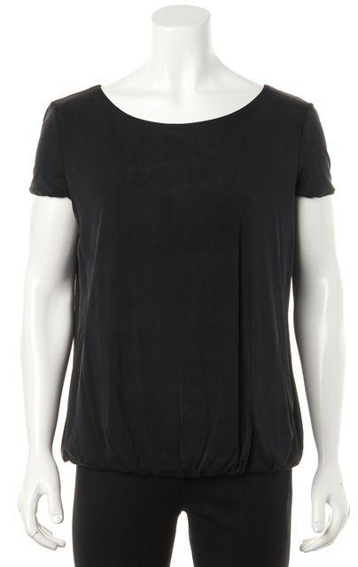 GIORGIO ARMANI Black Short Sleeve Bubble Hem Blouse Top