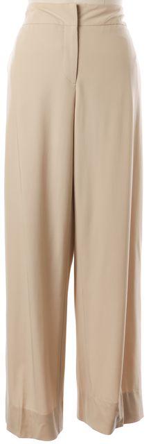 GIORGIO ARMANI Beige Wool Wide Leg Dress Pants