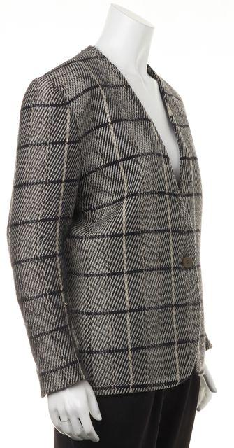GIORGIO ARMANI Black Ivory Tweed Casual One Button Classic Blazer