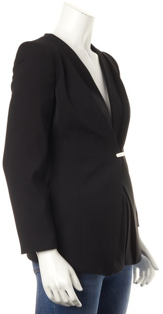 GIORGIO ARMANI Black Wool Casual Snap Front Pleated Classic Blazer