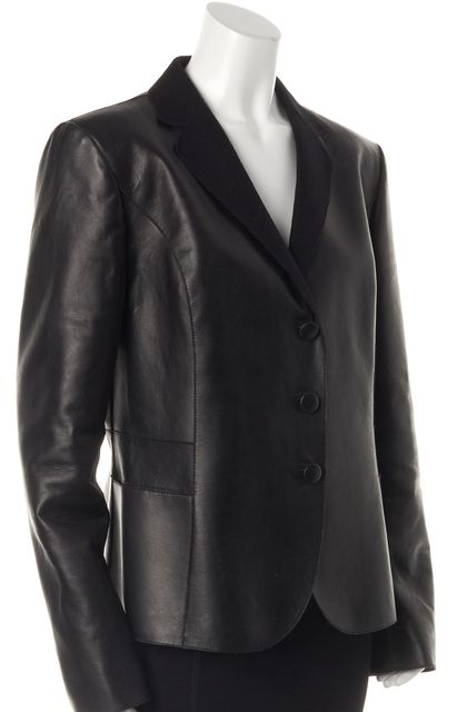 GIORGIO ARMANI Black Leather Wool Lined 3 Button Blazer