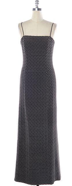 GIORGIO ARMANI Black White Zig-Zag Halter Formal Maxi Dress