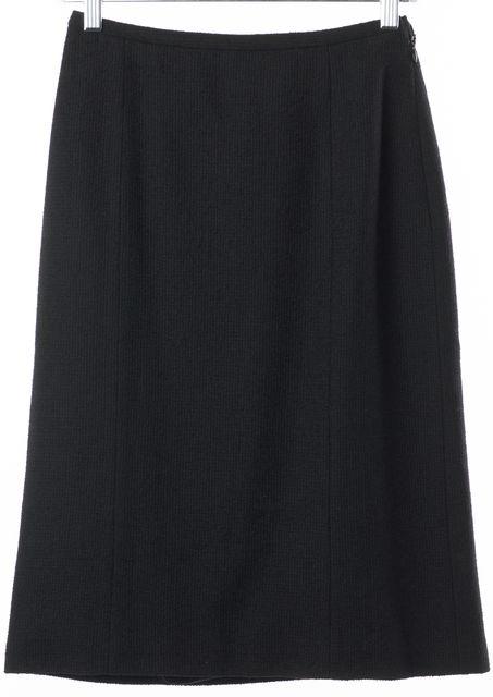 GIORGIO ARMANI Black Tweed Wool Knee Length Straight Skirt