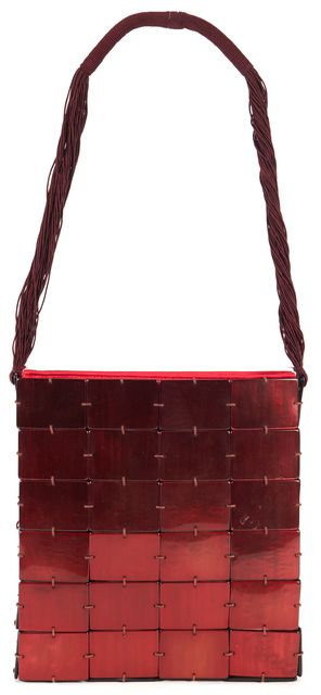 GIORGIO ARMANI Red Mother Of Pearl Flower Acetate Shoulder Bag