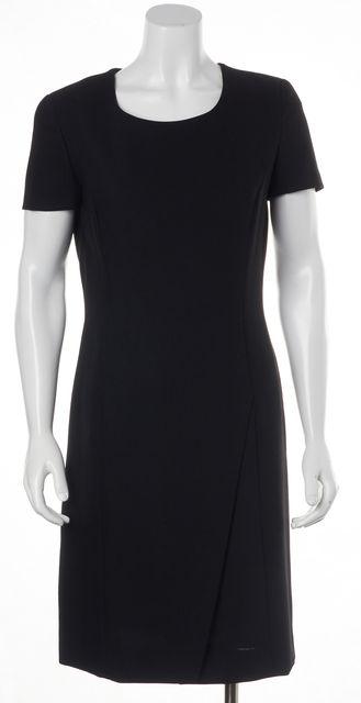 GIORGIO ARMANI Black Virgin Wool Faux Front Slit Sheath Dress