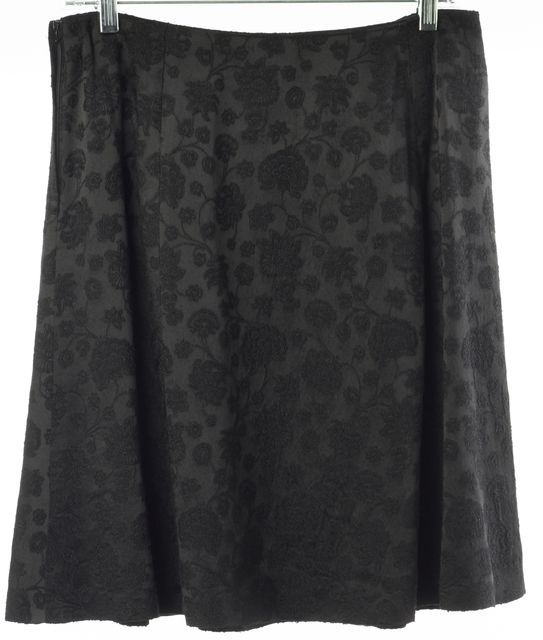 GIORGIO ARMANI Black Floral Embroidered Silk Above Knee A-Line Skirt