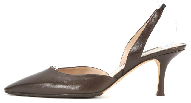 GIORGIO ARMANI Brown Leather Pointed Toe Slingback Low Heels