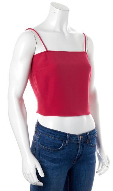 GIORGIO ARMANI Fuchsia Pink Thin Strap Casual Silk Cropped Blouse Top