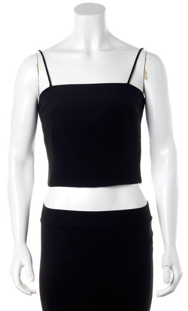GIORGIO ARMANI Black Silk Casual Thin Strap Cropped Camisole Blouse Top