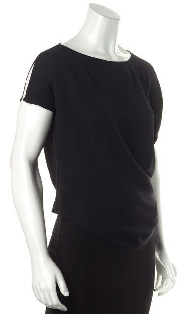 GIORGIO ARMANI Black Silk Casual Relaxed Fit Asymmetrical Hem Blouse Top