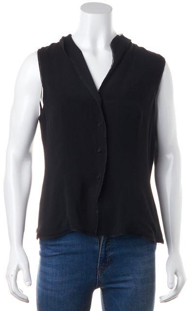 GIORGIO ARMANI Black Mesh Trim Silk Button Front Sleeveless Blouse