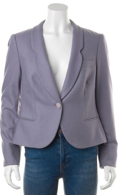 GIORGIO ARMANI Blue Purple Wool Buttoned Career Blazer